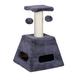 relaxdays Kratzbaum mit Katzenspielzeug   grau 27,0 x 27,0 x 42,0 cm