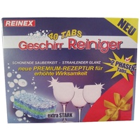 Reinex Geschirrspül- Tabs - leicht löslich - tadellose Reinigung - 40 Stück