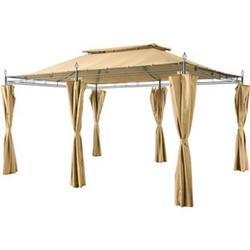 Grasekamp Garten-Pavillon Inca 3x4m Beige mit  Seitenteil Sets geschlossen Party-Zelt  Terrassen-Dach