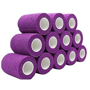 nilo Haftbandagen - 24 Rollen 5cm x 4,5m selbsthaftende elastische atmungsaktive Bandage, Fußverband, Pfotenverband, Erste Hilfe, Stützverband (Lila)