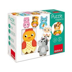 Goula Steckpuzzle Magnetisches Holzpuzzle Bauernhoftiere, Puzzleteile