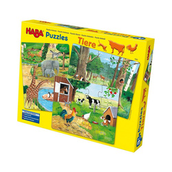 Haba Puzzle HABA 4960 3 in 1 Puzzle-Set Tiere - 12/15/18 Teile, Puzzleteile