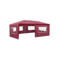 tectake Pavillon Garten Pavillon 6x3m mit 5 Seitenteilen rot