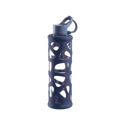 LEONARDO Trinkflasche Glas Trinkflasche mit Silikonmantel, 700 ml blau