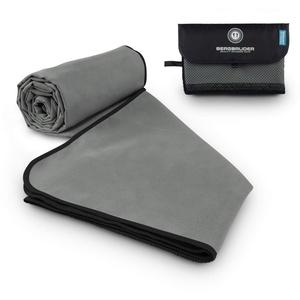 BERGBRUDER Microfaser Handtücher - Ultraleicht, kompakt & schnelltrocknend - Strandtuch, Badetuch Set mit Tasche (Set SXL = 1x S 80x40 cm & 1x XL 180x90 cm, Grau-Schwarz)