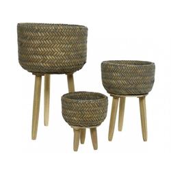 Bambuskorb auf Fuß klein (DH 21x23 cm)