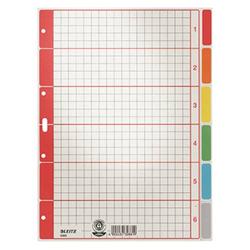 Leitz 4350 Register DIN A4 blanko Karton Grau 6 Registerblätter 43500085