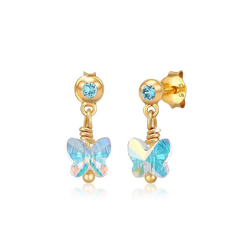 Elli Paar Ohrstecker Kinder Schmetterling Kristall 925 Silber, Schmetterling blau
