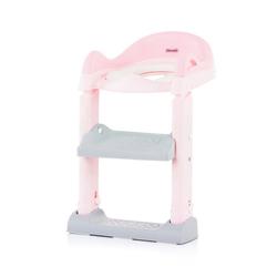 Chipolino Toilettentrainer Toilettenaufsatz, Toilettensitz, mit Leiter, Griffe, Fußstütze, kompakt rosa