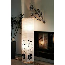 TRANGO Stehlampe, 1210 Design Stehlampe *GREECE* Reispapierlampe *HANDMADE* in Weiß mit floralem Motiv I inkl. 2x E14 Fassung I Form: eckig I Höhe: ca. 123cm I Wohnraumlampe I Stehleuchte I Reispapier
