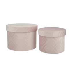 Aufbewahrungsbox, 2er-Set ¦ rosa/pink ¦ Samt, Karton Ø: 22
