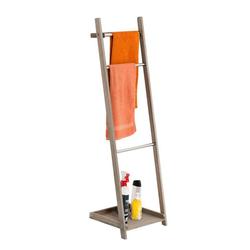 CLP Handtuchhalter Handtuchhalter Kyoto, naturbelassene Holzleiter, drei Stangen, platzsparend, klappbar braun