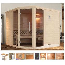 weka Sauna Brevik 2, BxTxH: 245 x 195 x 199 cm, 45 mm, 7,5 kW Ofen mit ext. Steuerung, Fenster