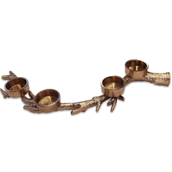 Weihnachtlicher Teelichthalter Adventskranz Alternative - Geweih 40x15 cm GOLD Weihnachtsdeko