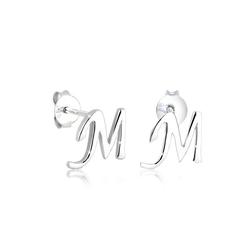 Elli Paar Ohrstecker Buchstaben M Anfangsbuchstabe 925 Silber, Buchstabe