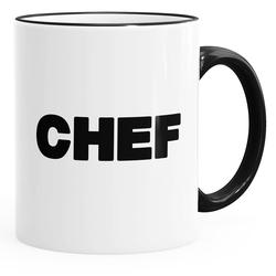 MoonWorks Tasse Kaffee-Tasse Chef-Tasse mit farbiger Kante und Henkel MoonWorks®