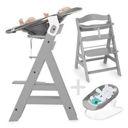 Hauck Hochstuhl Alpha Plus Grau - Newborn Set Holz Hochstuhl ab Geburt + Neugeboreneneinsatz & Wippe