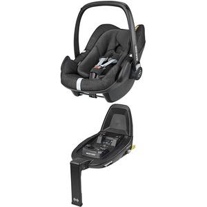 Maxi-Cosi Pebble Plus i-Size Babyschale + Maxi-Cosi FamilyFix 2 ISOFIX Basis, Gruppe 0+ Autositz für Babys, nutzbar ab der Geburt bis ca. 12 Monate (0-13 kg / 45-75 cm), Nomad Black, schwarz