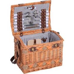 Outsunny Picknickkorb für 4 Personen braun, grau, weiß 36 x 24 x 27 cm (LxBxH)   Picknickkoffer Picknickset Weidenkorb mit Käsebrett