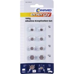 Knopfzellen-Set Je 2x AG1, AG3, AG5, AG12, sowie je 1x AG13, AG4