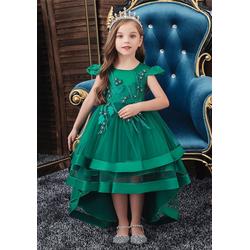 TOPMELON Abendkleid Prinzessin Kleid, Partykleid, Kurzarm, Mit Stickmuster grün 160