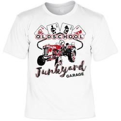 Der Trachtler T-Shirt mit schmaler Krageneinfassung Junkyard Garage weiß 4XL