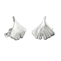 Gallay Paar Ohrstecker Stecker 12mm Ginkgoblatt glänzend Silber 925 (inkl. Schmuckbox), Silberschmuck für Damen