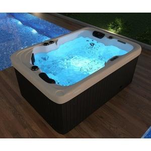 Outdoor Whirlpool mit Heizung LED Ozon Hot Tub Spa für 2 Personen 195x135 WPC