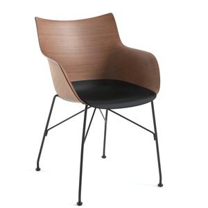 Kartell - Q/Wood Armlehnstuhl, schwarz / schwarz / Esche dunkel