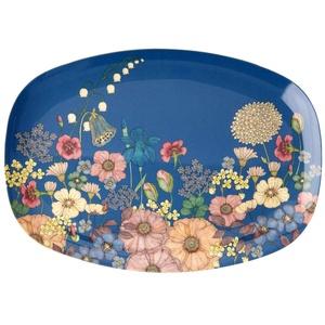 Rice Melamin Servierplatte Tablett Teller mit Blumen Collage Muster - 30 x 22 cm