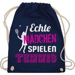 Shirtracer Turnbeutel Echte Mädchen spielen Tennis - Tennis - Turnbeutel blau
