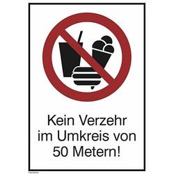 SafetyMarking® Verbotsaufkleber - Kein Verzehr im Umkreis von 50 Metern!