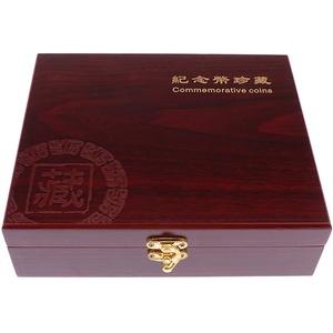 Bonarty Holz Münzkassette Münzbox Münzenetui Münzenkoffer Münzeinlagen Münzsammelbox für 30x Münzen bis 46 mm
