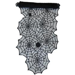 Tischläufer Läufer mit Spitze Spinnennetzen und Spinnen Halloween Tischdeko Tischband schwarz