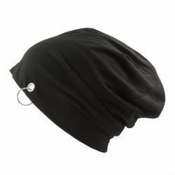 Long Beanie Jersey Mütze Slouch XXL Mützen - schwarz mit Ring