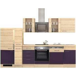 Küchenzeile mit Elektrogeräten Küchenblock Einbauküche 310 cm aubergine akazie