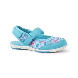 Mary Jane Wasserschuhe, Kids, Größe: 33 Mädchen, Blau, Leinen, by Lands' End, Kristall Aqua Tropenblüte - 33 - Kristall Aqua Tropenblüte