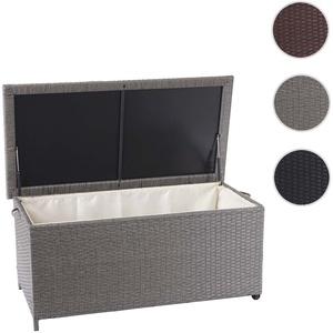 Poly-Rattan Kissenbox HWC-D88, Gartentruhe Auflagenbox Truhe ~ Premium grau, 51x115x59cm 250l