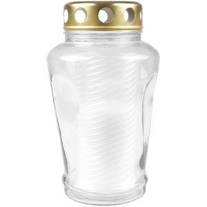 HS Candle Grabkerze (1-tlg), Grabkerze mit Noppenglas und Motiv od. 6eckig, Grablicht Grableuchte weiß 10,5 cm x 17 cm
