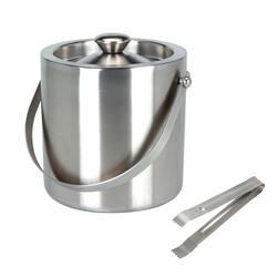 BigDean Eiswürfelbehälter rund mit Deckel, Eiszange, Eiswürfel−K, Edelstahl, (1-tlg)