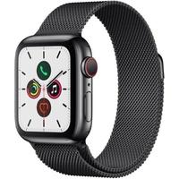 Apple Watch Series 5 GPS + Cellular 40 mm Edelstahlgehäuse space schwarz, Milanaise Armband space schwarz
