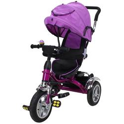 miweba Kinder-Buggy Kinderdreirad 7 in 1 Schieber Kinderwagen, 360° Drehbar - Luftreifen - Dreirad - Ab 1 Jahr lila