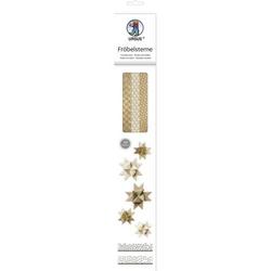 Faltstreifen Fröbelsterne 2 Größen Kraftpapier gold/braun/weiß