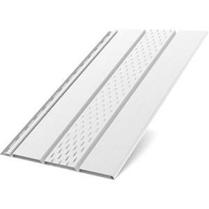 Kunststoffpaneele Weiss RAL 9010 | Verkleidung | Aussen & Innen | Unterdach | Paneele perforiert 200x30,5x1,5cm
