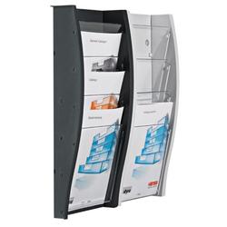 Wand-plastikhalter für broschüren, 5x dl, grau