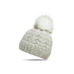Caspar Bommelmütze MU144 Damen warme Winter Strick Mütze mit Fellbommel weiß