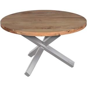 SAM Runder Esszimmertisch 130 cm Runa, Akazienholz massiv, Esstisch naturfarben, Sternfuß aus Metall Silber, aufgedoppelte Tischplatte 50 mm