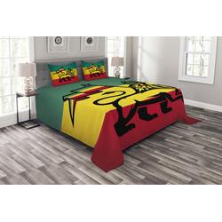 Tagesdecke Set mit Kissenbezügen Waschbar, Abakuhaus, Rasta Judah Lion Rastafari Flagge 264 cm x 220 cm