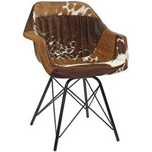 DRW Stuhl aus Metall und Leder, Kuhmuster, Braun und Schwarz, 61 x 53 x 81,5 cm