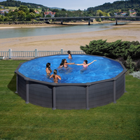 Gre Stahlwandbecken Set Lattenzaun-Rankgitter Design 550 x 132 cm